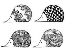 Drawn hedgehog zentangle