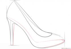 Drawn shoe high heel