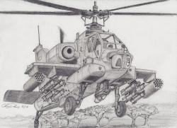 Drawn helicopter apache helicopter