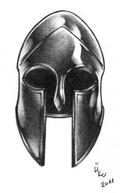 Drawn warrior warrior helmet