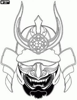 Drawn helmet samurai