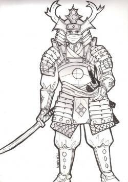 Drawn samurai samurai armor