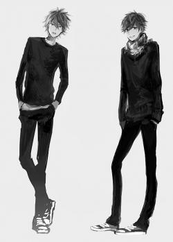 Drawn jeans anime male