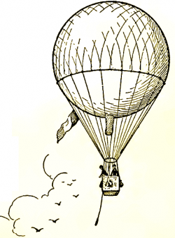 Drawn hot air balloon