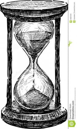 Drawn watch hourglass