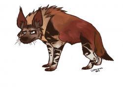 Drawn hyena brown hyena