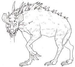 Drawn hyena monster