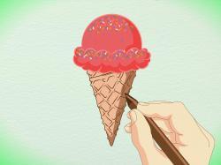 Drawn waffle cone dessert