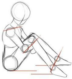 Drawn figurine human sitting
