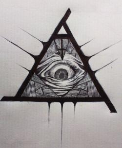 Drawn illuminati all seeing eye