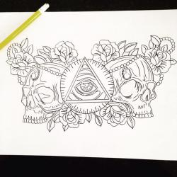 Drawn illuminati skull