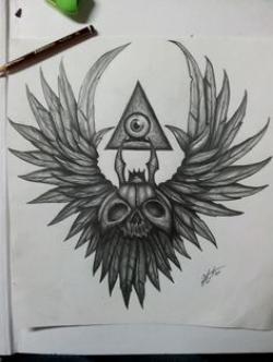 Drawn illuminati wing