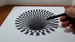 Drawn optical illusion hole