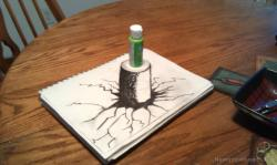 Drawn optical illusion obstacle