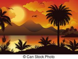 Drawn islet sunset