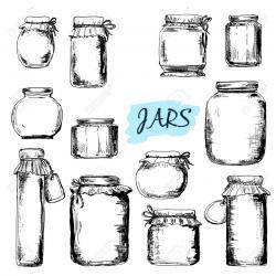 Drawn mason jar vector