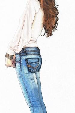Drawn jeans illustration