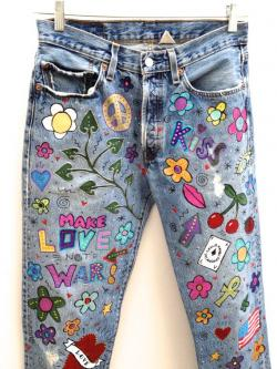 Drawn jeans painted