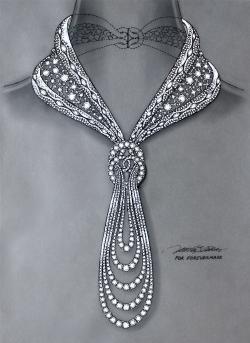 Drawn necklace diamond necklace
