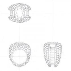 Drawn jewelry ring