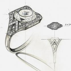 Drawn jewelry sketch