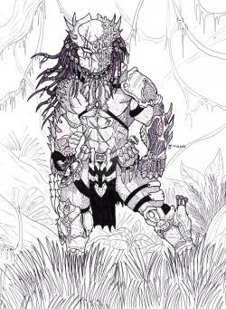 Drawn predator wolf