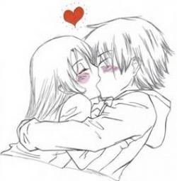 Drawn kissing cartoon