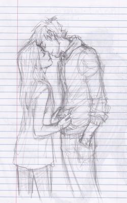 Drawn kisses chick