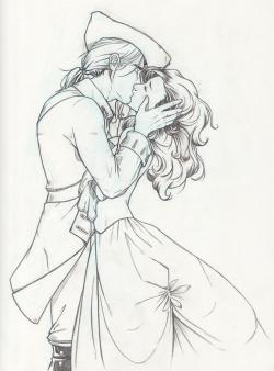 Drawn kissing first kiss