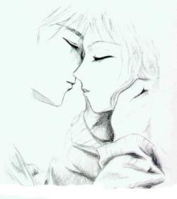 Drawn kissing love kiss