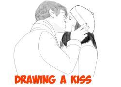 Drawn kiss romantic kissing