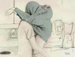 Drawn couple kissing