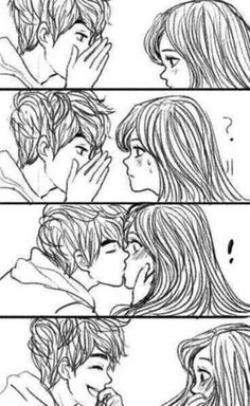 Drawn kissing surprise kiss