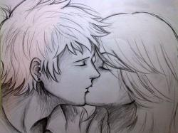 Drawn kisses love kiss