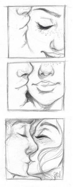 Drawn kissing cute relationship