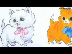 Drawn kitten fluffy kitten