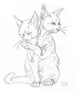 Drawn kitten two headed