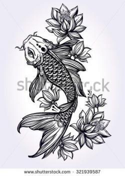 Drawn koi carp black and white