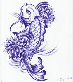 Drawn koi koi lotus