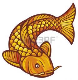 Drawn koi carp golden carp