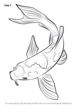 Drawn koi carp oriental