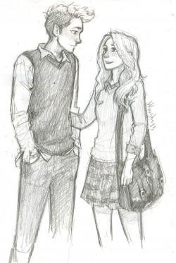 Drawn couple friendship