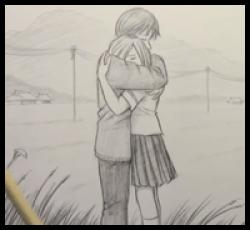 Drawn hug person
