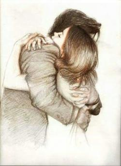 Drawn hug artistic