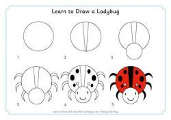 Drawn lady beetle minibeast