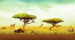 Drawn landscape africa