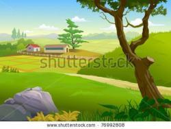 Drawn scenic beautiful village scenery