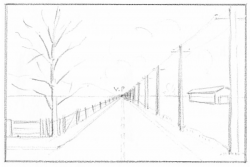 Drawn roadway perspective drawing
