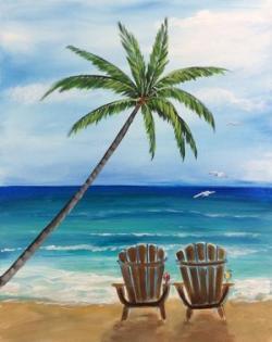 Drawn palm tree shore