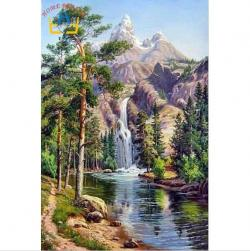 Drawn waterfall landscape painting